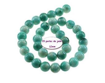 35 beads 12mm Green Cyan Jade