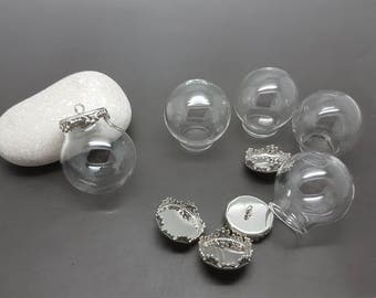 5 globes glass 25mm and 5 caps silver