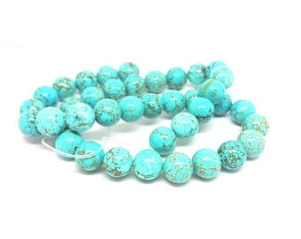 38 round Turquoise beads natural 10mm