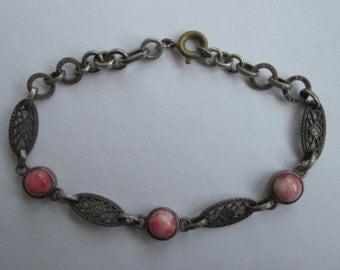 Antique Victorian Natural Coral Filigree Chain Sterling Silver Bracelet