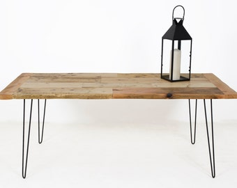 Reclaimed Wood Desk, Immaculately Constructed Reclaimed Wood Desk set on Elegant Hairpin Table Legs