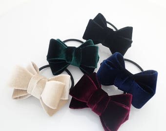 Velvet 3 wings Hair Bow Elastic Ponytail Holder