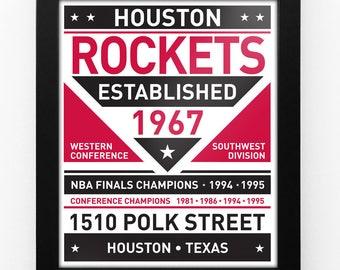 Houston Rockets Dual Tone Modern Team Print Framed