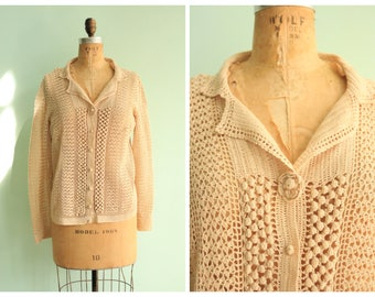 Vintage 1970's Crochet Cardigan Sweater | Size Medium
