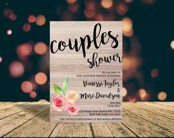 watercolor couples shower invite - floral couples shower invitation - wedding shower invite - br61