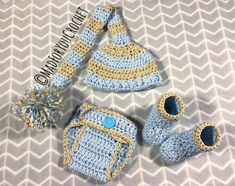 Elf Hat/ Newborn Photography/ Photo Prop/ Baby Shower Gift/ Baby Prop/ Newborn/ Newborn Baby Outfit/ Crochet Baby Boy Outfit/ Boy Props