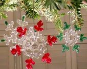 Red or Green Glass Snowflake Christmas Ornament, 3 Inch,Handmade Fused Glass Suncatcher, Coworker Gift