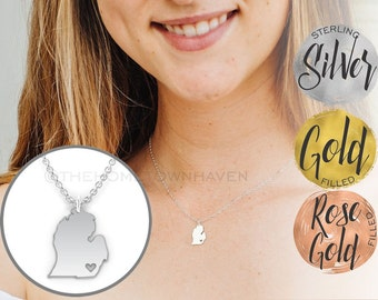 Lower Michigan Necklace - Lower Michigan Pendant, I love Michigan necklace, Michigan Life
