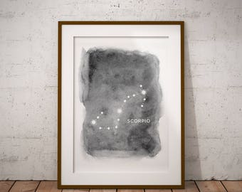 Scorpio Constellation, Astrology, Scorpio Wall Decor, Digital Download, Constellations, Zodiac, Stars, Scorpio Print, Home Decor, Night Sky