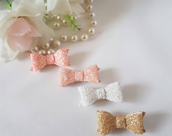 Baby Slides, Glitter bow set, New baby accessories, Baby Hair Clips, Toddler Hair clip, hair clips