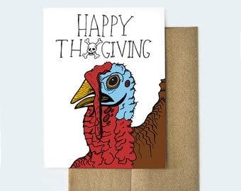 Funny Thanksgiving Card, Thanksgiving Turkey Card, Handmade Holiday Card