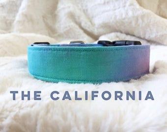 Tie Dye Dog Collar, Teal Dog Collar, Mermaid Dog Collar, Hand Dyed Dog Collar, Ombre Dog Collar, Bright Dog Accessory, Summer Dog Accessory