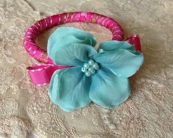 Ribbon wrapped bangle with silk flower embellishment