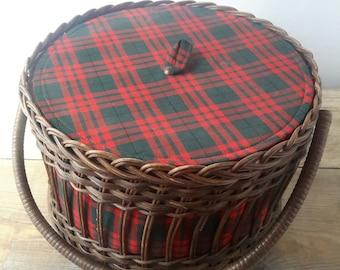 Sewing basket, wicker basket, wicker sewing basket hobby, basket, retro sewing basket, Tartan, Christmas gift, tartan decor, baby room, shabby chic decor