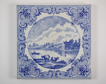 Large antique English Blue and White transfer printed pottery teapot stand