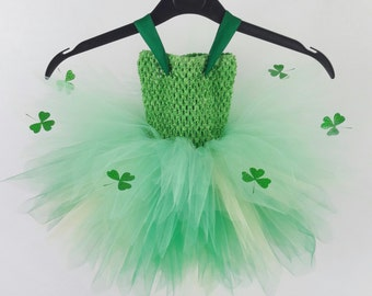 St Patricks Day Tutu Dress,Lucky Clover Tutu Dress, Shamrock Tutu Dress Baby, Toddler, Child