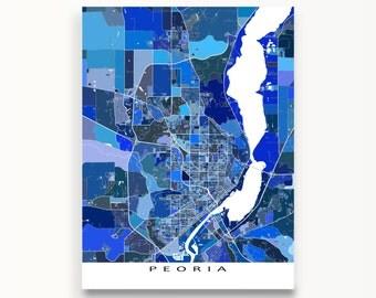 Peoria Map, Peoria Illinois, USA City Art Map, Street Artwork