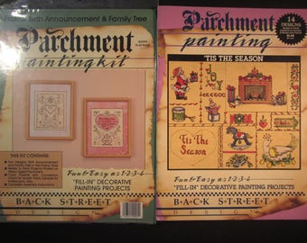 2 Parchment Painting booklet kits, Birth Fraktur & Family Tree, 'Tis The Season,14 decorative paper painting projects,Christmas,Santa