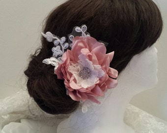 Bridal Flower Hair Clip, Handmade Bridal Hairpiece