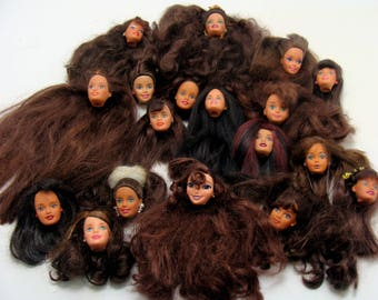 Old barbie doll head lot-brunette barbie doll heads- dark hair barbie head-vintage doll head-old barbie doll lot-brown hair barbie doll head