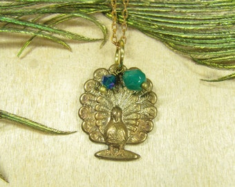 SMALL Peacock necklace chain with pendant vintage style brass bronze Peacock Peacock pendant, glass beads blue green