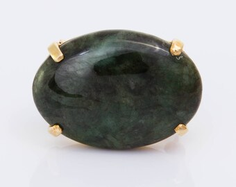 Vintage 14ct Yellow Gold & Jadeite Jade Brooch