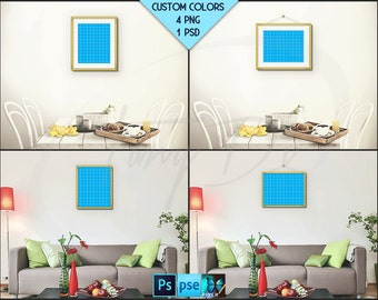 8x10 Living Room Interior Styled mockup | 8x10 Fine Gold Portrait & Landscape Frame | Modern interior PNG scenes | Styled Photoshop mockup