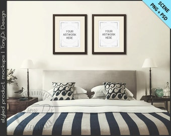 Bedroom Styled Interior 4 | Set of 2 Wood Frame Mockup | 8x10 11x14 Frame | Portrait Landscape Frame | White mat | PNG scene | Styled mockup