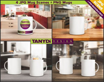 11oz White Coffee Mug Photoshop Styled Mockup | Mug in a Kitchen | Set of 2 Mugs on Wood Table | 4 JPG scenes