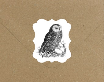 Envelope Seals / Stickers - Owl Nest #700 Qty: 30 Stickers