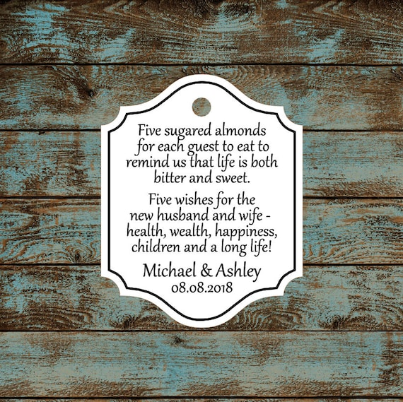 Personalized Favor Tags, Jordan Almond Favor Tags, Sugared Almond Favor Tags, Italian Wedding Favor Tags #762 - Qty: 30 Tags