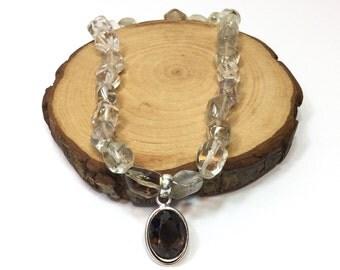Handmade citrin natural stone necklace silver filled stone pendant, semi prescious stone jewelry,