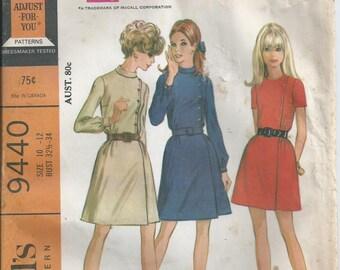 Mock Side Buttoning Dress - McCall's Pattern 9440 - 1968 - Uncut