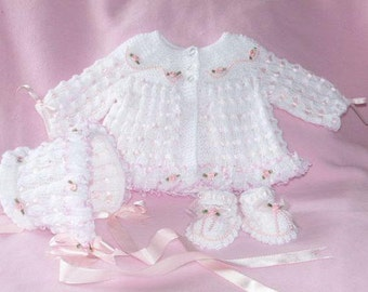 Baby Knitting Patterns ref:04, Matinee Coat, Bonnet and Shoes 0-3mths