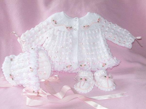 Baby Knitting Pattern ref:04, Matinee Coat, Bonnet and Shoes 0-3mths