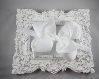 NEW OTT over the top white 6 inch hair bow stretch headband