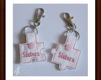 In The Hoop Sisters Jigsaw Key Fobs Machine Embroidery Design Pattern 4x4 Hoop by Titania Creations