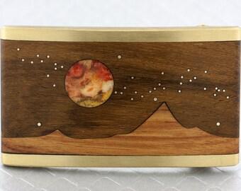 Brass, Wood Inlaid Planet, Stars Mountain Scene Belt Buckle, Mountain Belt Buckle, Nature Belt Buckle, Inlay Mountain Scene