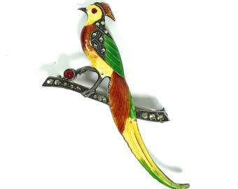 Sterling Marcasite Bird Brooch, Vintage, Multi Color Enamel, Uncas, Sterling, 1930s Art Deco, Figural Bird Pin, 1930s, Designer Signed