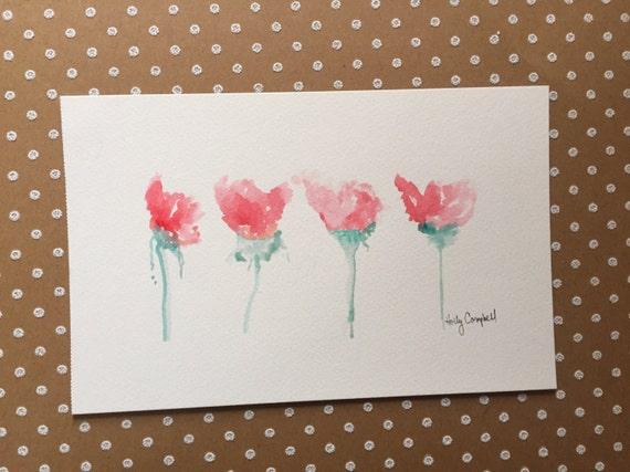 Original Watercolor Painting, Pink Flower Painting, Watercolor Flower Painting