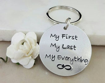 Tin Anniversary Gift, Gift for Husband, Gift for Wife, infinity keychain, gift for partner, my first my last my everything, boyfriend gift