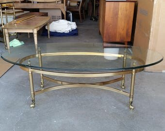 Vintage 1970's Brass Coffee Table Maison Jansen Style Mid Century Modern Lacquered Finish Thick Glass Top Hollywood Regency Great Condition