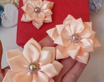 3 mixed salmon flowers, satin ribbon flowers, salmon applique flowers, flower embellishments, gift for crafters, salmon scrapbook flowers