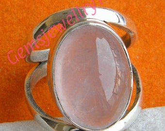 925 sterling silver Rose Quartz ring, Statement Ring, Gemstone Ring Rose Quartz Stone Ring Size 5 6 7 8 9 10 -0115100216