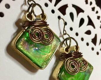 Pot-o-Gold Glass Tile Earrings