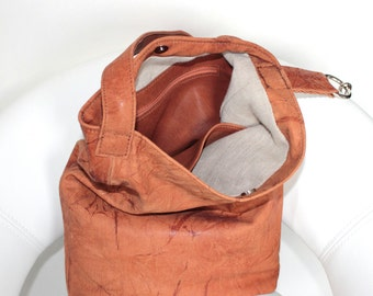 "Leather Tote Bag ""Autumn Melody""-Leather Bag-Shopper Bag-Italian Leather-Tote-Crossbody Purse-Bucket Bag-Handbag-Gift for her-Leather-Gift"