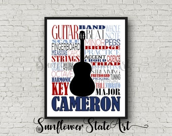 Personalized Guitar Poster Typography, Guitar Player Gift, Guitar Art, Guitar Gift, Custom Guitar, Gift for Guitar Player, School Band Gift