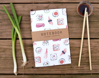 Sushi Pattern Notebook, Journal, Sketchbook, Recipe Book, Diary, Blank Notebook, Stationary, Food Illustration