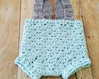 Crochet Baby Pants, Summer Rompers, Beach Pants  with Suspenders, Aqua Pants,  Newborn Diaper Cover, Newborn Photo Prop.