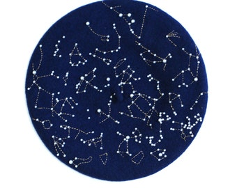 Navy Blue Star Map Constellations Wool Berets Unisex French Berets